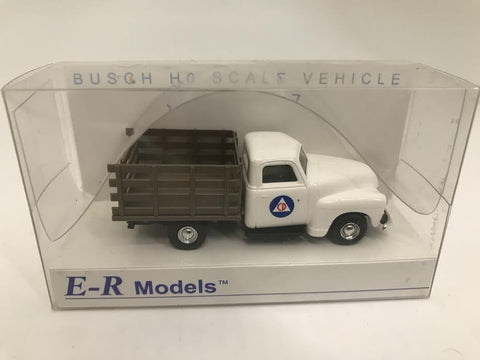 E-R Models 040-92302 HO Busch 1950 Civil Defense Stake Truck