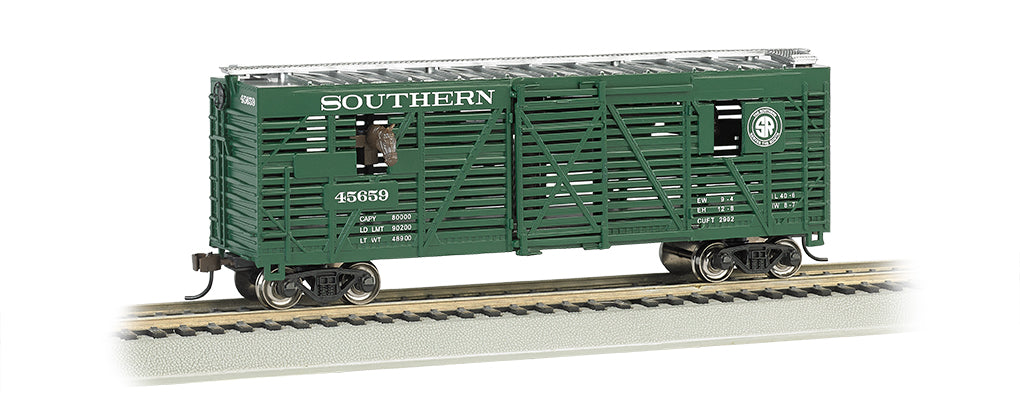 Bachmann 19702 HO Southern Railway 40' Green Animated Stock Car w/Horses