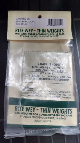 Adair Shops 15 HO Scale Weight Kit for Athearn 86' Hi-Cube Boxcars