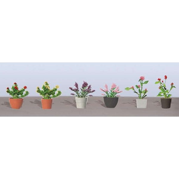JTT Scenery Products 95566 O Assorted Potted Flower Plants (Pack of 6)