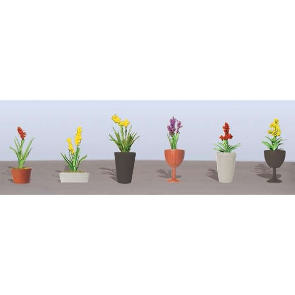 "JTT Scenery Products 95568 O 1-1/2"" Assorted Potted Flower Plants #2 (Pack of 6)"