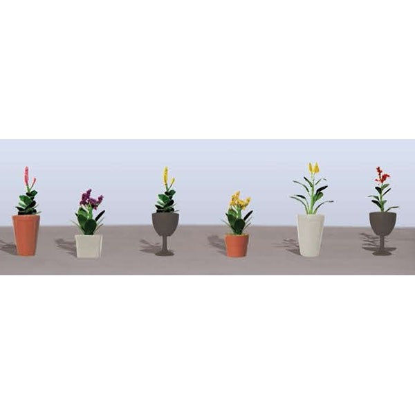 JTT Scenery Products 95571 HO Flower Plants Potted Assortment Set #4 (Pack of 6)