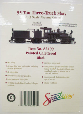 Spectrum 82499 1:20.3 Scale Undecorated 55 Ton 3-Truck Shay