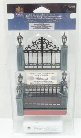 Lemax 091908 Carole Towne Collection Lighted Wrought Iron Fence
