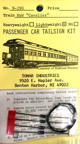 "Tomar Industries N-290 N Scale Norfolk & Western ""Cavalier"" Lightweight Tailsign Kit"