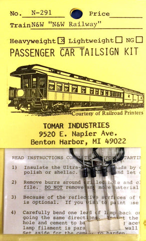 Tomar Industries N-291 N Scale Norfolk & Western Lightweight Passenger Tailsign Kit