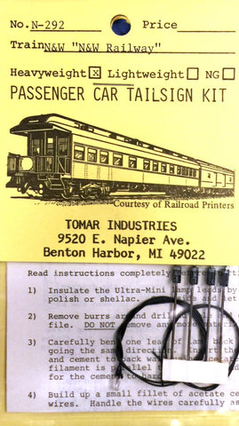 Tomar Industries N-292 N Scale Norflk & Western Lightweight Passenger Car Tailsign Kit