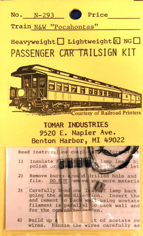 "Tomar Industries N-293 N Scale Norfolk & Western ""Pocahontas"" Pass Tailsign Kit"