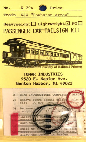 "Tomar Industries N-294 N Scale N&W ""Powhatan Arrow"" Lightweight Pass Car Tailsign Kit"