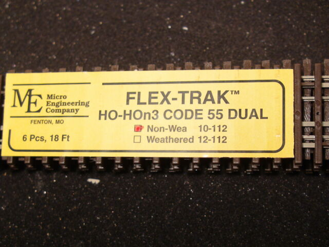 "Micro Engineering 10-112 HO/HOn3 Code 55 36"" Non-Weathered Flex-Track 18' Total"