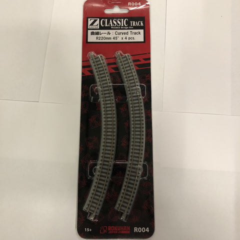 Rokuhan R004 Z Gauge Classic Curved Track R220mm 45 Degree (4 Pcs.)