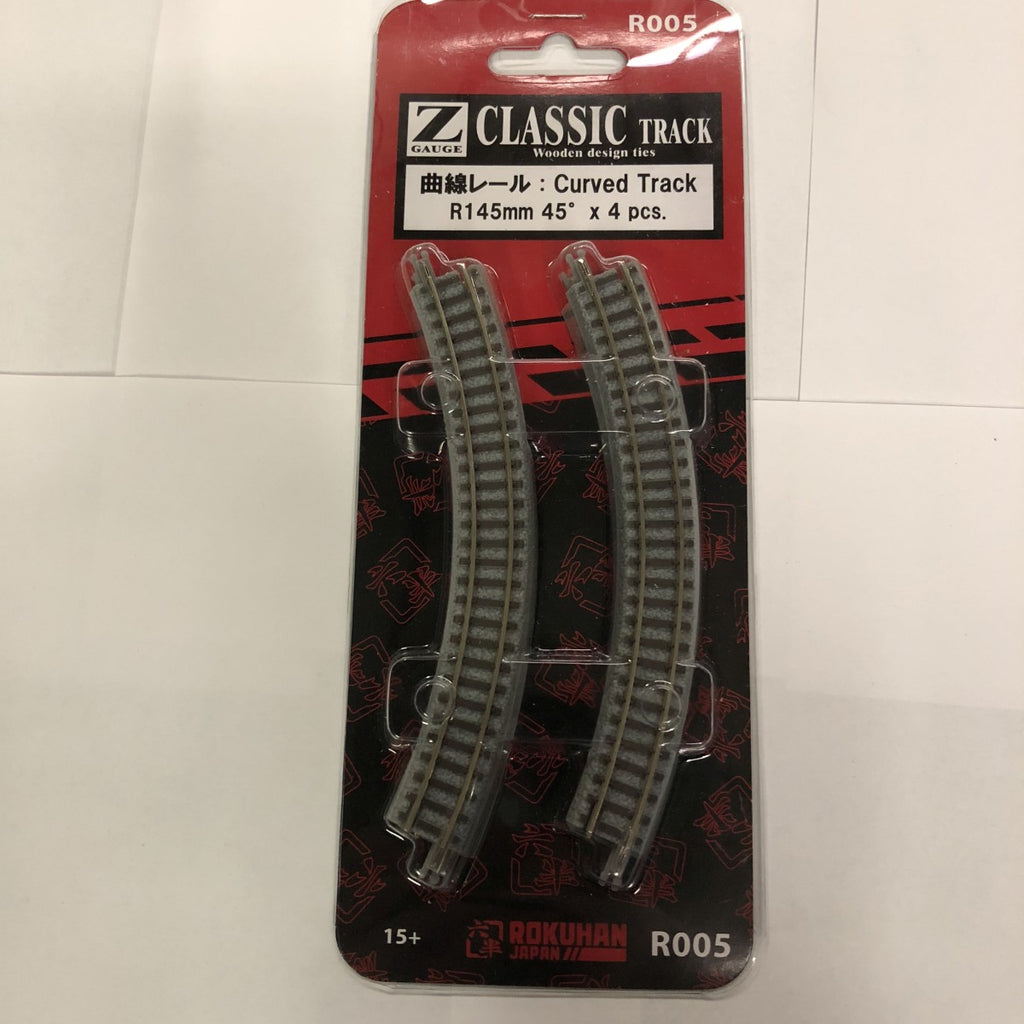 "Rokuhan R005 Z Scale 5-45/64"" Radius 45° Classic Curved Track (Pack of 4)"