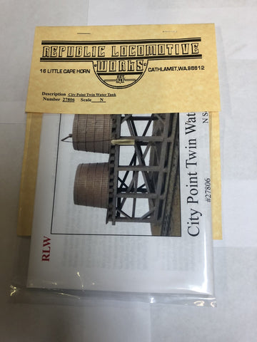Republic Locomotive Works 27806 N Scale City Point Twin Water Tank Kit