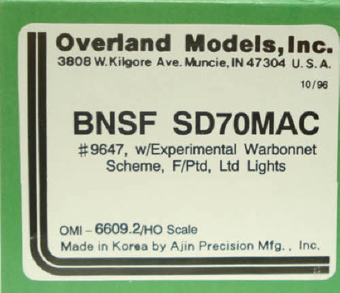 Overland 6609.2 BNSF SD70MAC--Brass