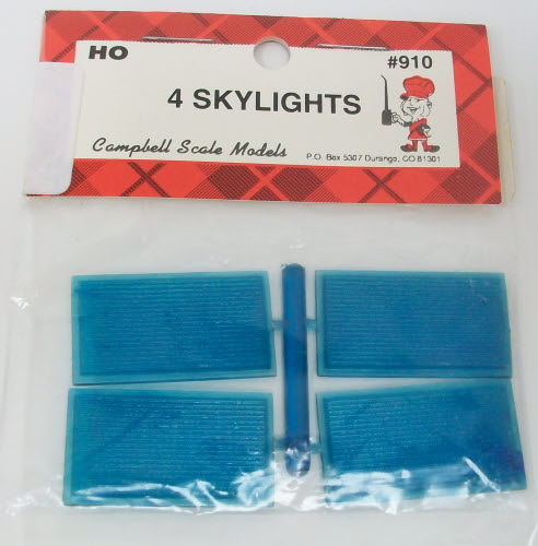 Campbell Scale Models 910 HO Plasic Corrugated Type Skylights (Pack of 4)