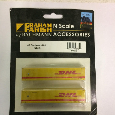 Graham Farish 379-373 N Scale 45' Containers DHL (Qty 2)