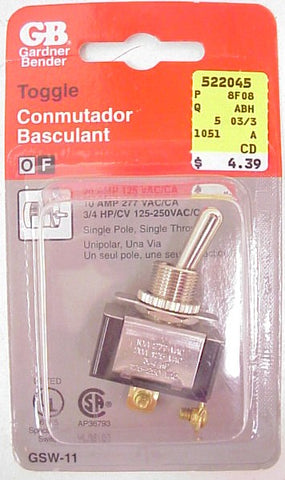GB GSW-11 Single Pole Toggle Switch