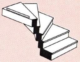 "Plastruct 90943 O 57/64"" x 1"" x 9/64"" Custom Left Turn Staircase"