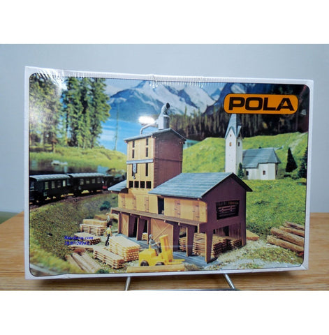 Pola 241 N Scale Forest Sawmill with Large Timber Stores Building Kit
