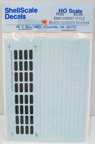 Shell Scale 105 EMD Insert Style Black Number Board