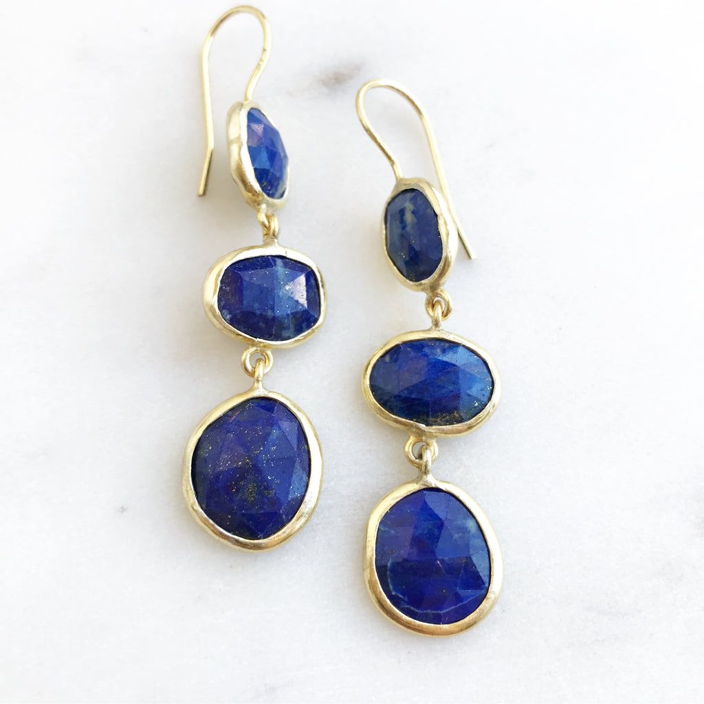 3-Drop Lapis Silver Earrings