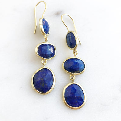 3-DROP LAPIS EARRINGS