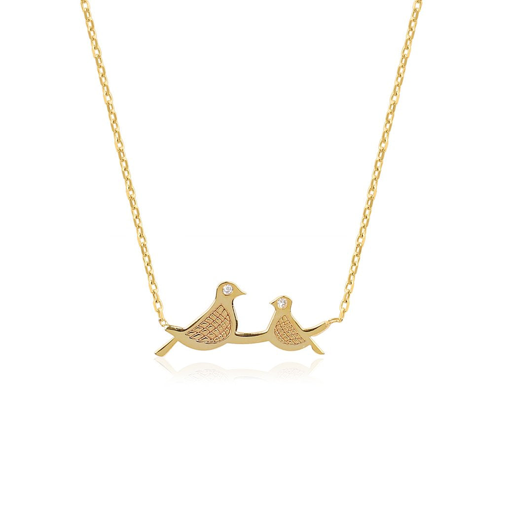 14K Solid Gold & Diamond Bird Necklaces