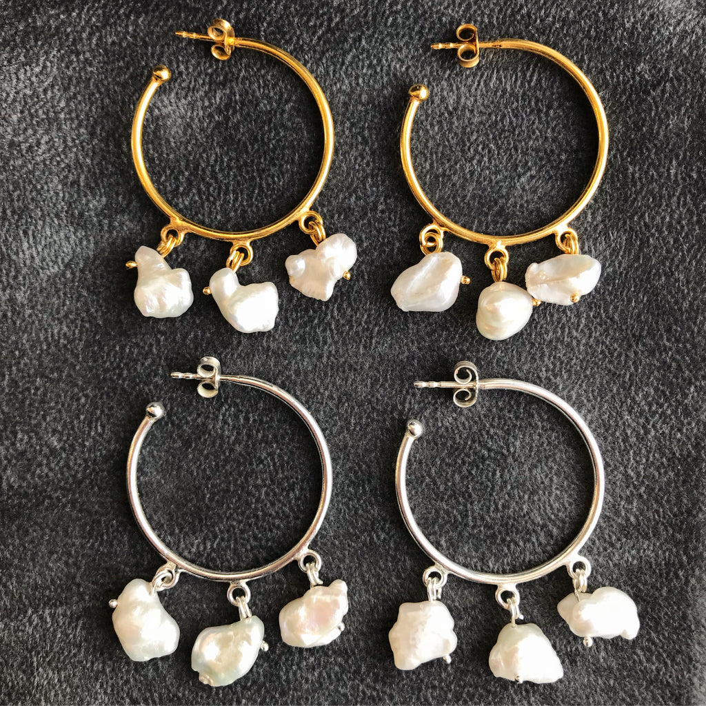 GOLD & PEARL HOOPS