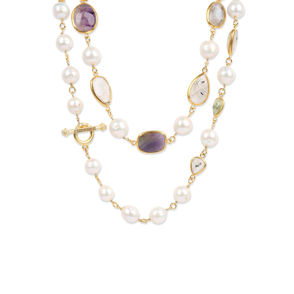 PEARL GEMSTONE LONG NECKLACE
