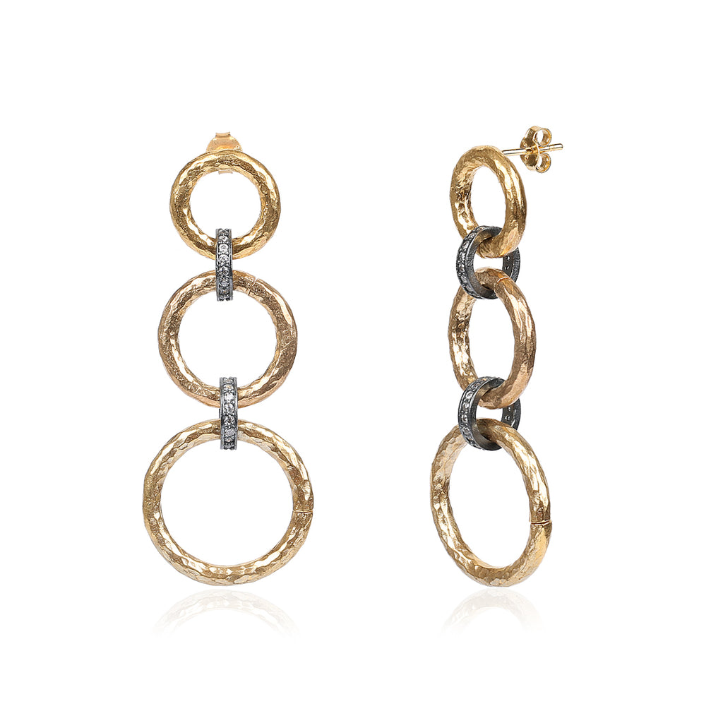 TWO-TONE CHAINLINK EARRINGS