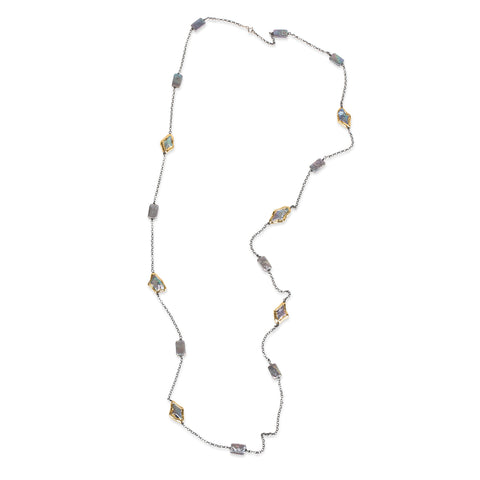 MOTHER OF PEARL STATION NECKLACE