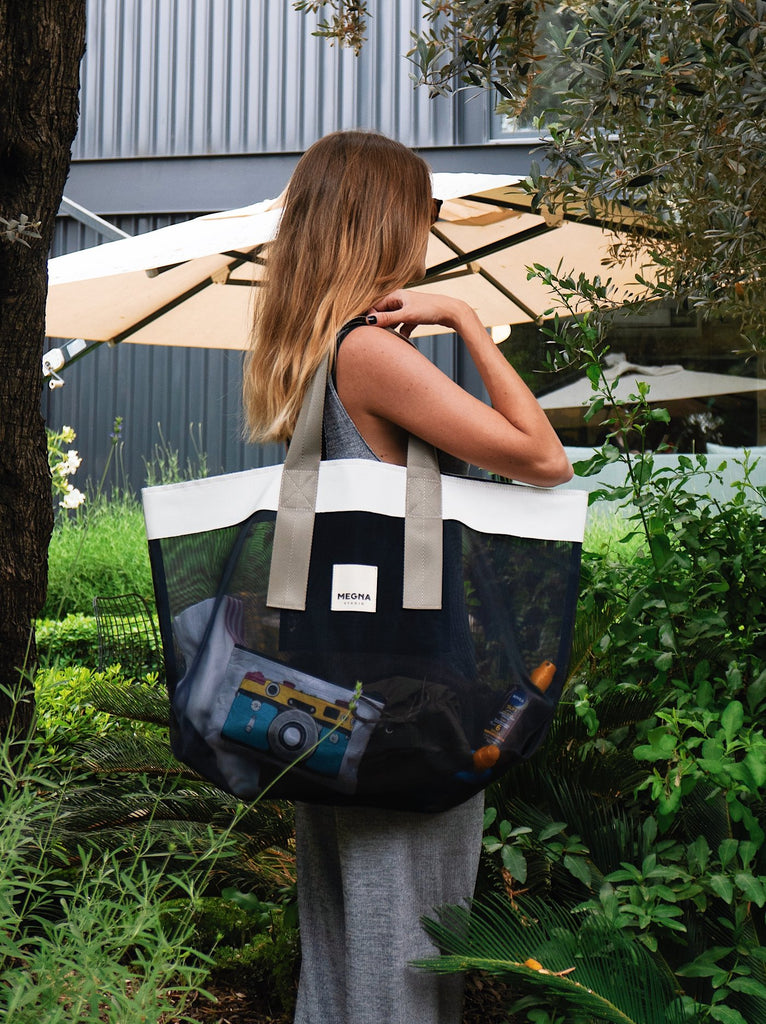 GRACE BEACH BAG | HORIZONTAL NAVY BLUE