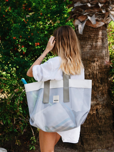 GRACE BEACH BAG | METALLIC GREY
