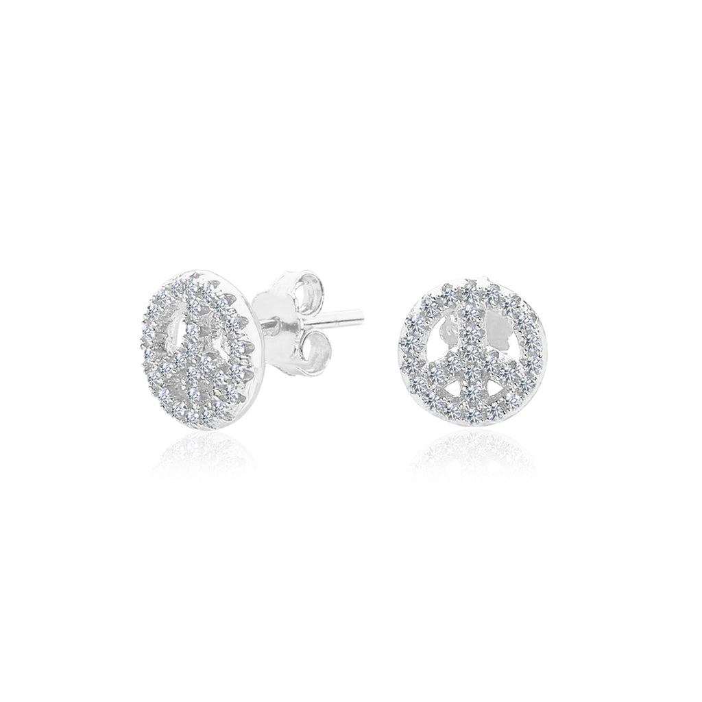 925 SILVER PAVE PEACE STUDS