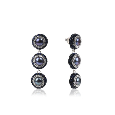 THREE DROP BLACK PEARL EARRINGS