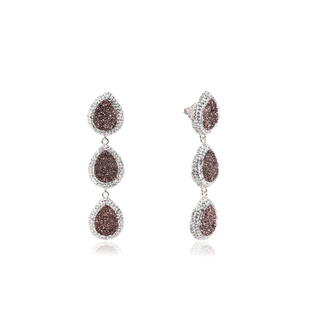 925SILVER THREE DROP SPARKLING EARRINGS