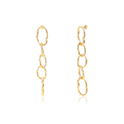 GOLD LONG CHAINLINK EARRINGS