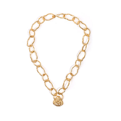 GOLD CHAINLINK WITH BUDDHA PENDANT