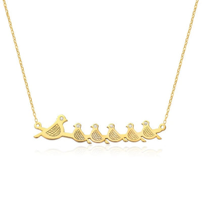 14K GOLD MAMA BIRD & 5 BABY BIRDS