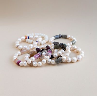 PEARLS WITH GEMSTONES
