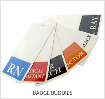 custom printed vertical and horizontal badge buddies