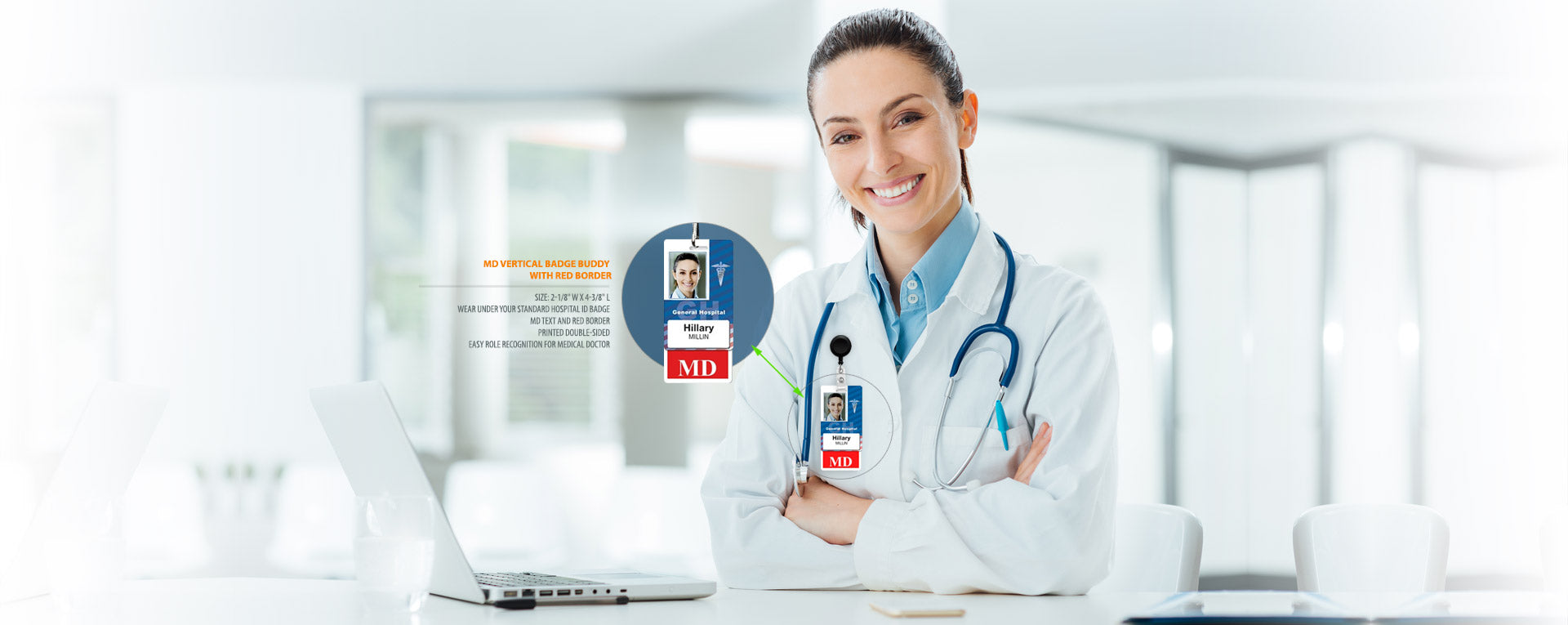Smiling doctor with arms folded showing Badge Buddy Badge Holders, click to view all badge buddies.
