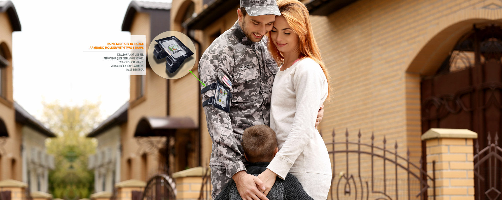 Soldier reuniting with family showing armband ID badge holder, click to view armband badge holders.