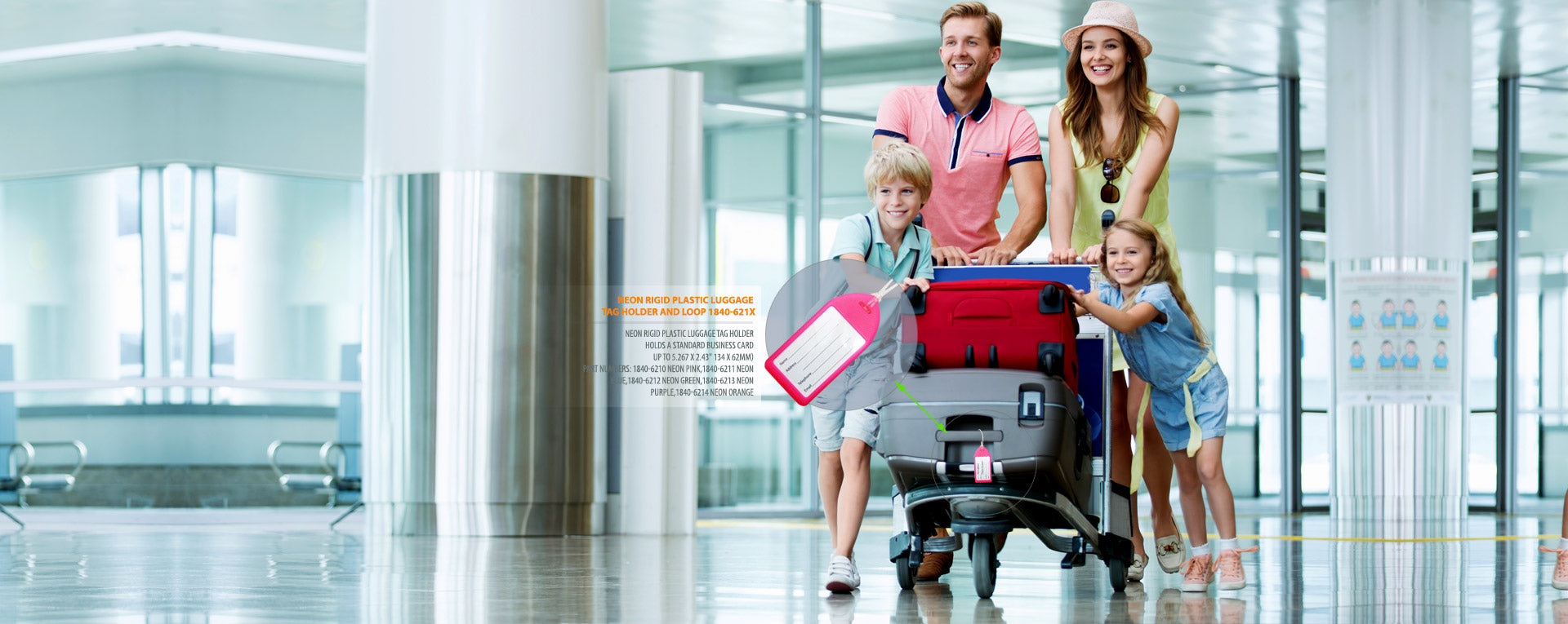 Family in airport with luggage showing luggage tag badge holders, click to view all luggage tag holders.