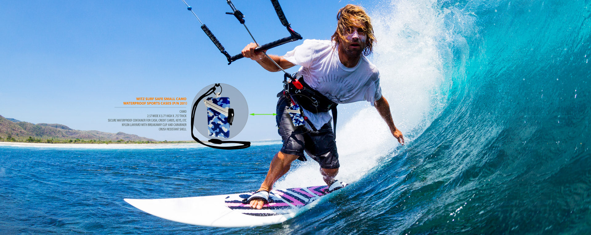 kiteboarder surfing with waterproof ID badge holder, click to view waterproof ID badge holders.