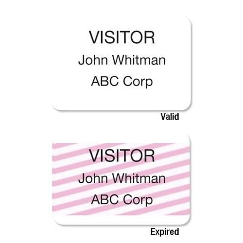 photograph about Printable Badges named Just one-Phase Just one Working day Thermal Printable Self-Expiring Customer Badges, Box of 500 (02011)