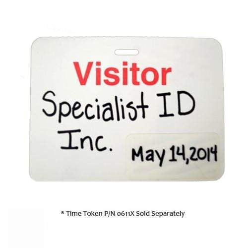 "Manual Clip-on ""VISITOR"" Badge With Expiring Time Covers, Box of 1,000 (P/N 05595)"