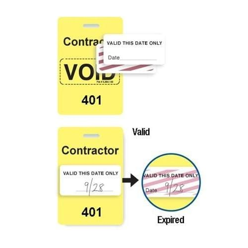 "Reusable Yellow Voidbadge Seq. # 401-500 ""CONTRACTOR"""
