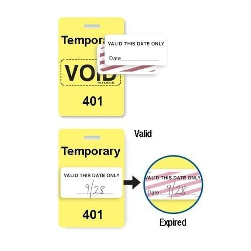 "Reusable Yellow Voidbadge Seq. # 401-500 ""TEMPORARY"""