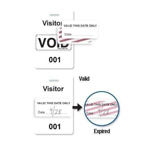 "Reusable White Voidbadge Seq. # 001-100 ""VISITOR"""